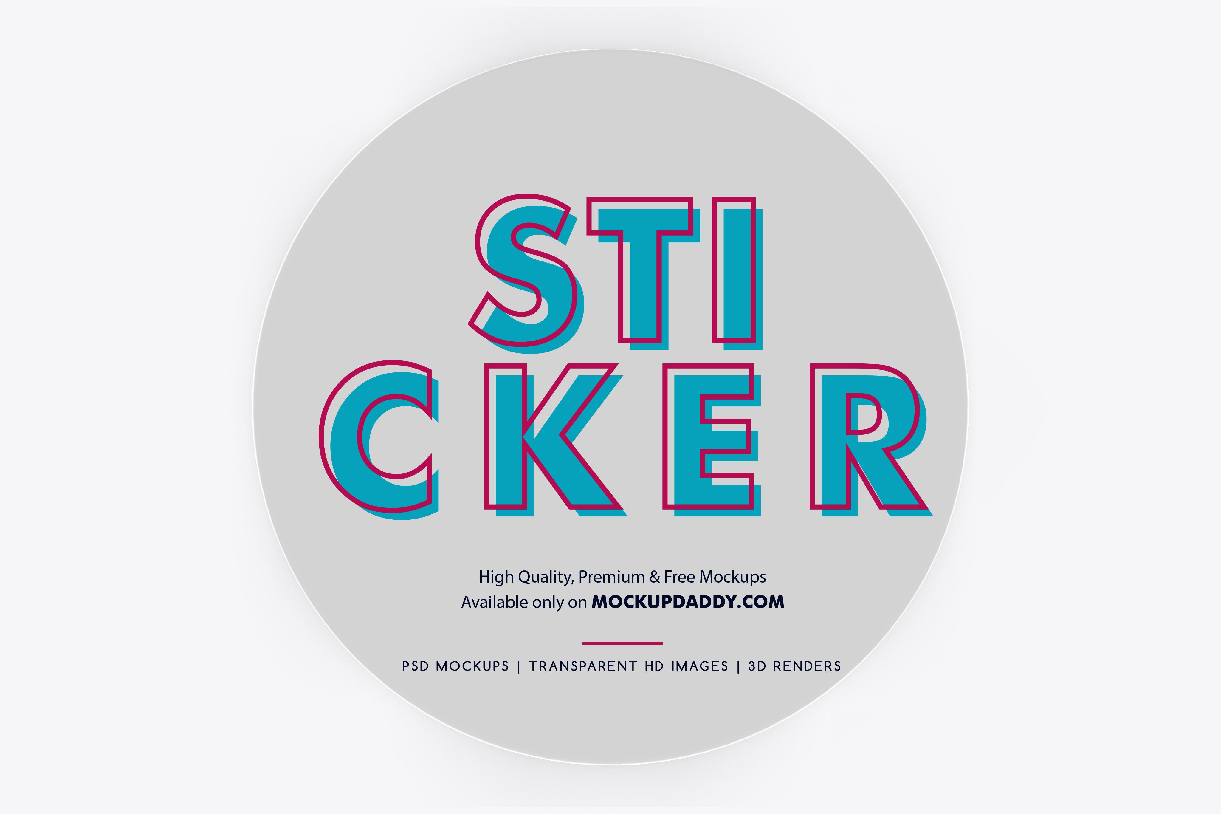 Round Adhesive Sticker Mockup - Mockup Daddy