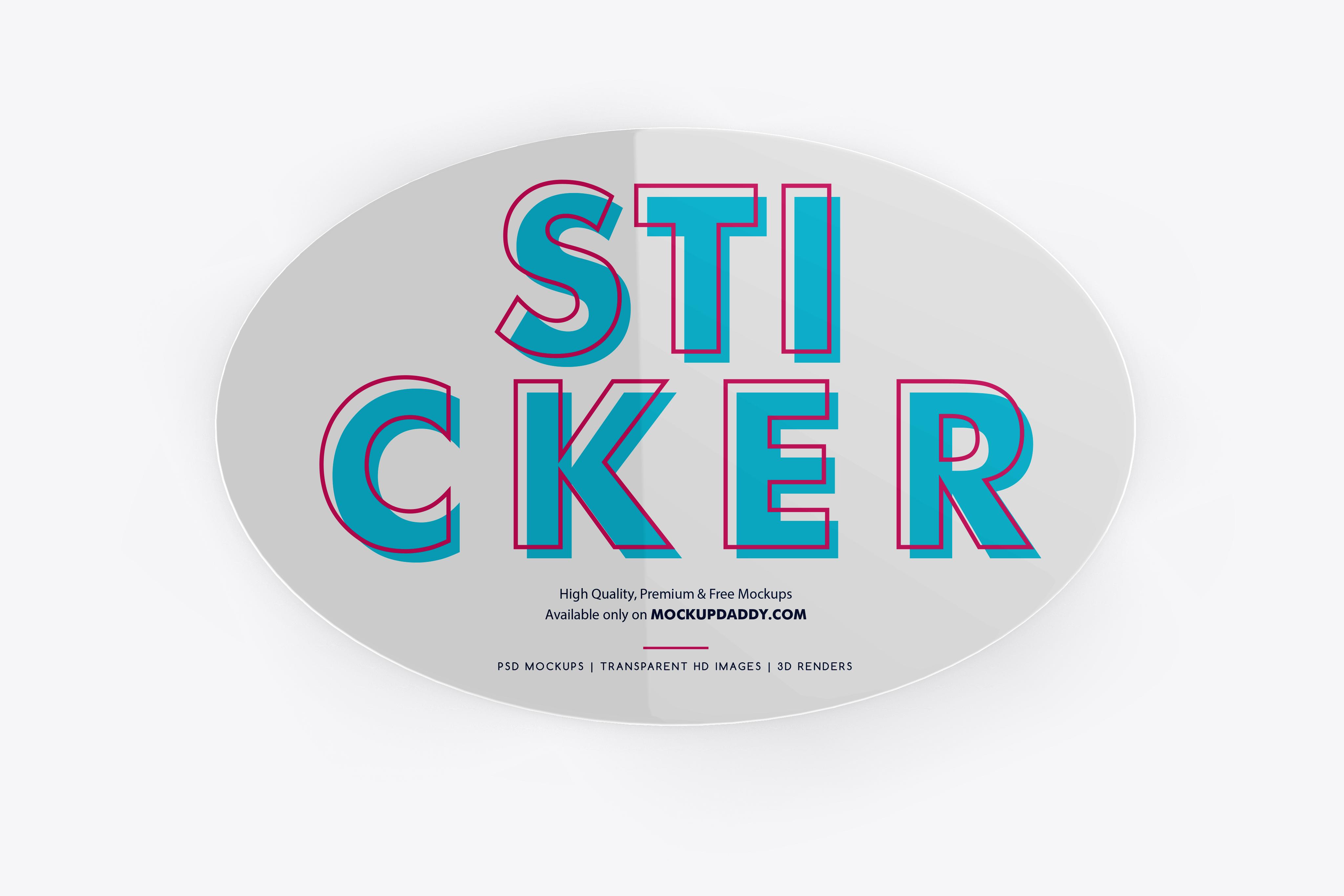 Round Adhesive Sticker Mockup