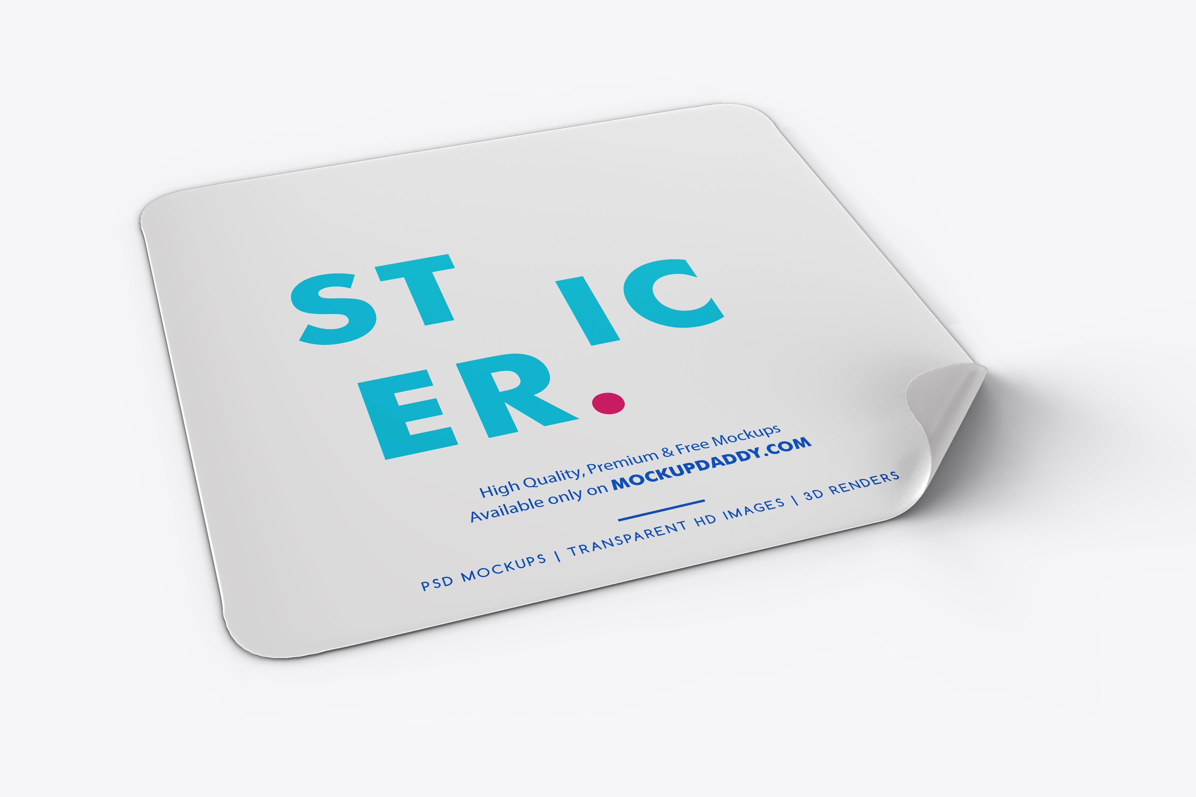 Square Adhesive Sticker Mockup