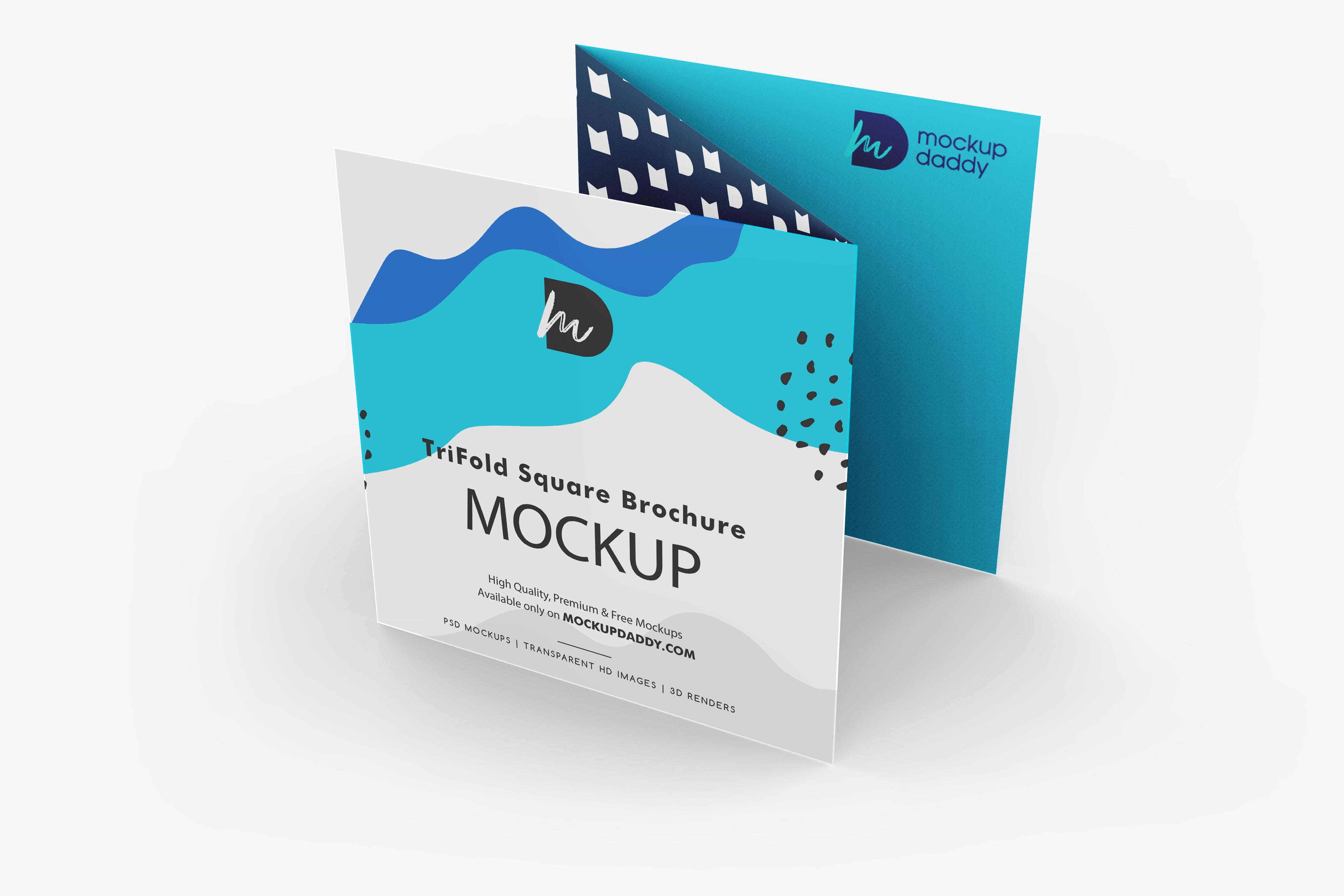 Trifold Square Brochure Mockup Free Mockup Daddy