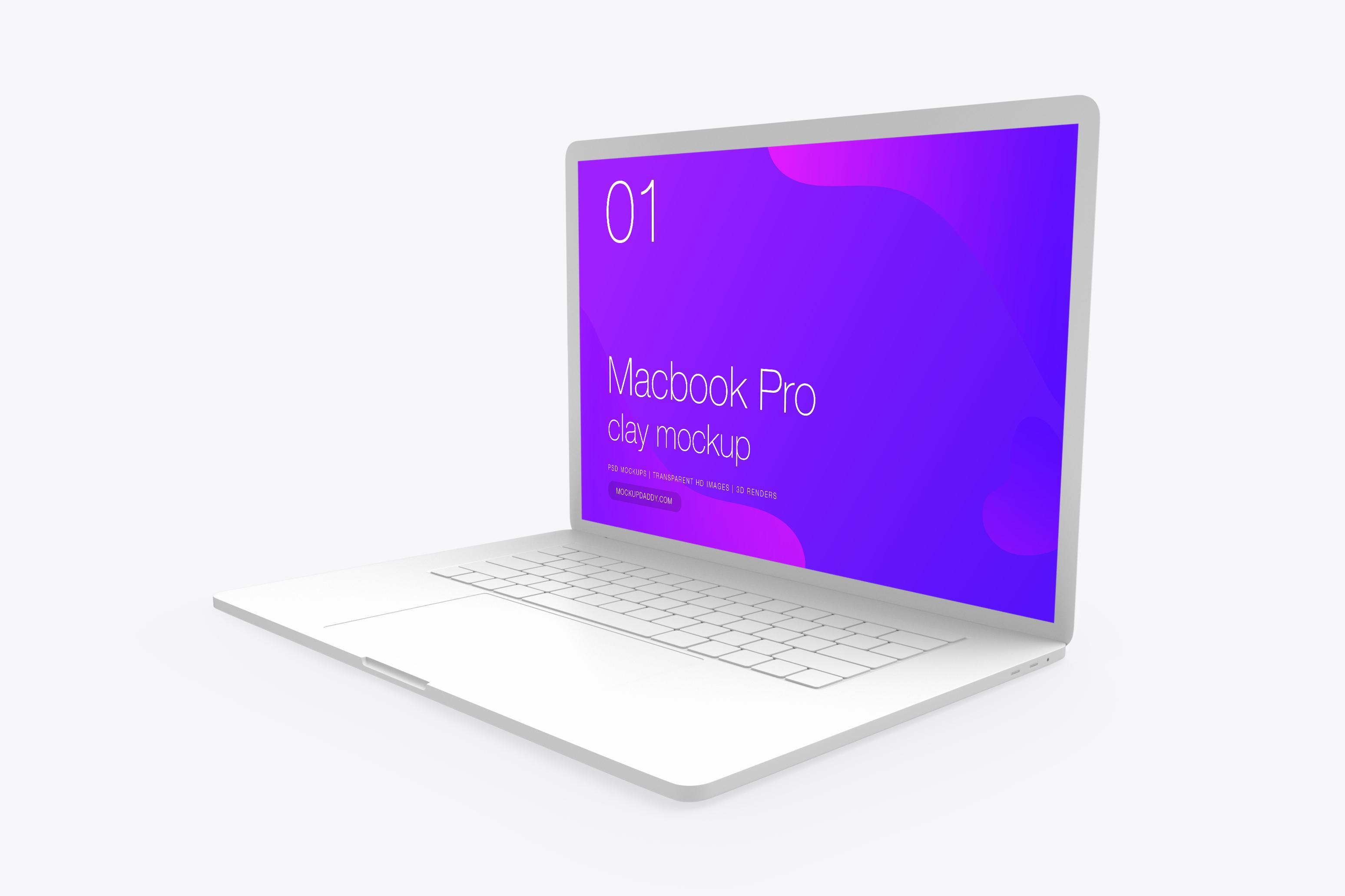 White MacBook Pro Mockup Free - Premium Branding Mockups